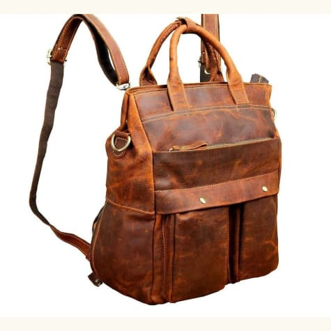 Full Grain Leather Fashion Knapsack Travel Backpack Premium Leather
