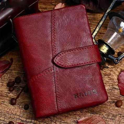 Full Stone Leather Vintage Purse/wristlet for Women Red Premium Leather