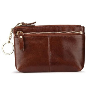 Ginger Leather Women's Oil Wax Cowhide Wallet/clutch Wristlet Premium Leather