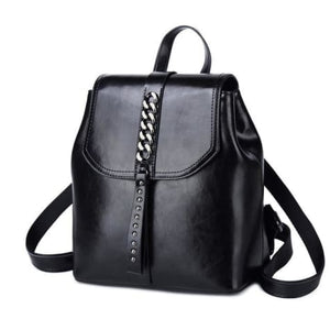 Girly Girl Bull Hide Leather Backpack and Oil Wax Rucksack Black