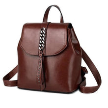 Load image into Gallery viewer, Girly Girl Bull Hide Leather Backpack and Oil Wax Rucksack Coffee