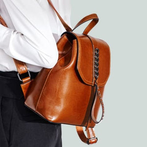 Girly Girl Bull Hide Leather Backpack and Oil Wax Rucksack Brown