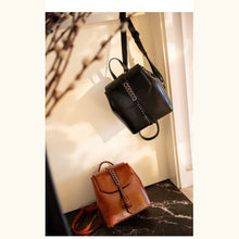 Load image into Gallery viewer, Girly Girl Bull Hide Leather Backpack and Oil Wax Rucksack