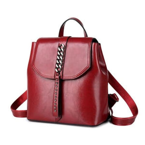 Girly Girl Bull Hide Leather Backpack and Oil Wax Rucksack Red