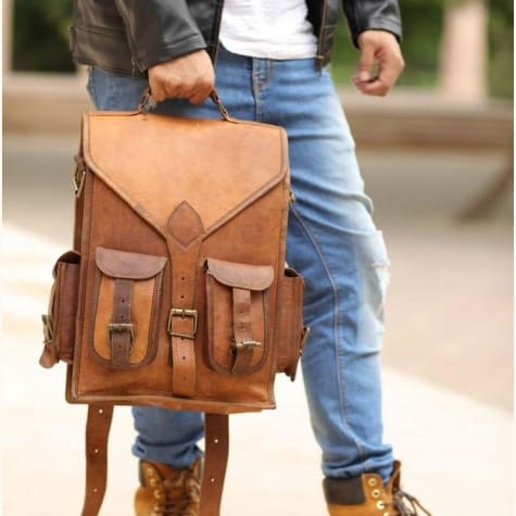 Goat Skin Vintage Leather Travel Backpack