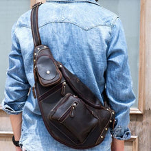 Load image into Gallery viewer, Grande Vintage Crazy Horse Leather Chest/crossbody Bag Dark Brown Premium Leather