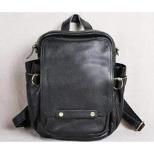 Load image into Gallery viewer, Handcrafted Leather Business/traveler & Student Backpack Black Premium Leather