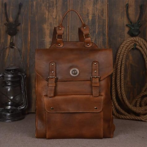 Handmade Designer Leather Backpack and Travel Bag Retro Brown Premium Leather