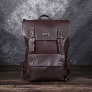 Handmade Designer Leather Backpack and Travel Bag Dark Brown Premium Leather