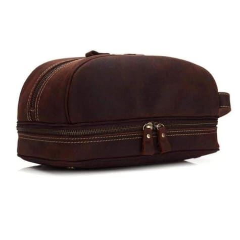 Haute Couture Crazy Horse Leather Casual Clutch/travel Bag Dark Coffee Premium Leather