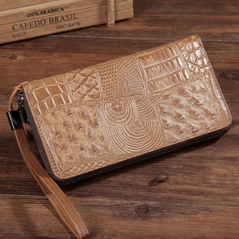 Hermosa Vintage Genuine Leather Patterned Clutch Bag Purse Premium Leather