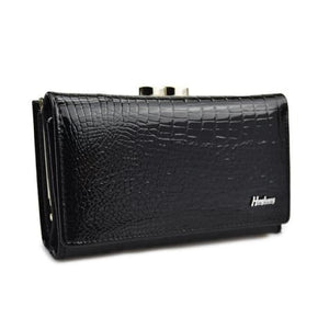 Hh Women's Luxury Leather Short Wallet Black Premium Leather