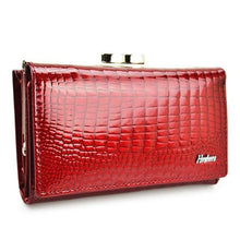 Load image into Gallery viewer, Hh Women's Luxury Leather Short Wallet Red Premium Leather