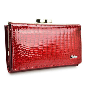 Hh Women's Luxury Leather Short Wallet Red Premium Leather
