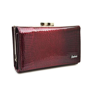 Hh Women's Luxury Leather Short Wallet Wine Red Premium Leather