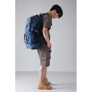 Highside Large Capacity Canvas Backpack & Travel Bag Dark Blue Premium Leather