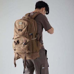 Highside Large Capacity Canvas Backpack & Travel Bag Brown Premium Leather