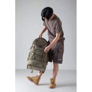 Highside Large Capacity Canvas Backpack & Travel Bag Army Green Premium Leather