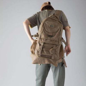 Highside Large Capacity Canvas Backpack & Travel Bag Khaki Premium Leather