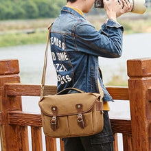 Load image into Gallery viewer, Imperméable Canvas Dslr Camera/messenger Bag Khaki Premium Leather