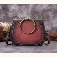 Load image into Gallery viewer, Impressionnant full Grain Leather Laptop Shoulder Bag Reddish Black Premium Leather