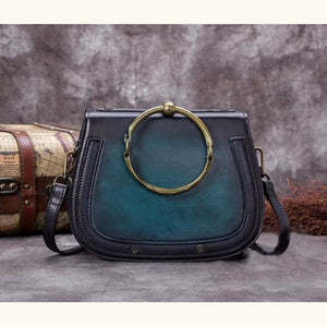 Impressionnant full Grain Leather Laptop Shoulder Bag Blue Premium Leather