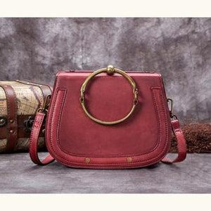 Impressionnant full Grain Leather Laptop Shoulder Bag Red Premium Leather
