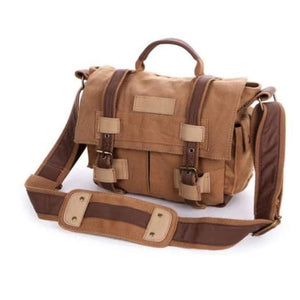 Khaki Coffee Canvas Dslr Camera/messenger Bag Premium Leather