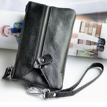 Load image into Gallery viewer, La Grange Authentic Leather Wrist Wallet & Clutch Black Premium Leather