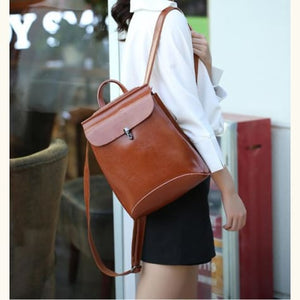 Ladies' Fashion Leather Crossbody Bag & Purse Brown Premium Leather
