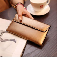 Load image into Gallery viewer, Ladies Leather Clutch Wrist Wallet /long Gold Premium Leather