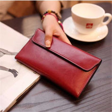 Load image into Gallery viewer, Ladies Leather Clutch Wrist Wallet /long Red Premium Leather
