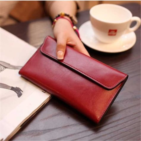 Ladies Leather Clutch Wrist Wallet /long Red Premium Leather