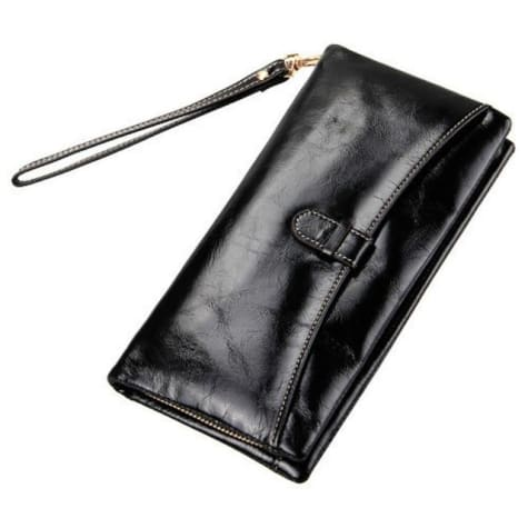Ladies Leather Clutch Wrist Wallet/long Wallet Black Premium Leather