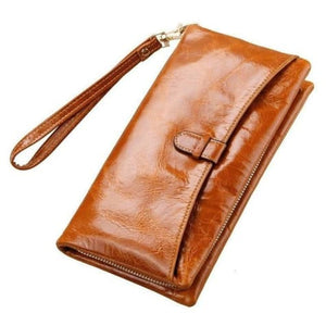 Ladies Leather Clutch Wrist Wallet/long Wallet Brown Premium Leather