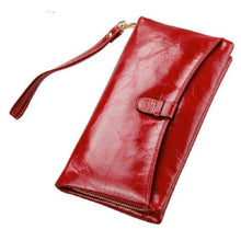 Load image into Gallery viewer, Ladies Leather Clutch Wrist Wallet/long Wallet Burgandy Premium Leather