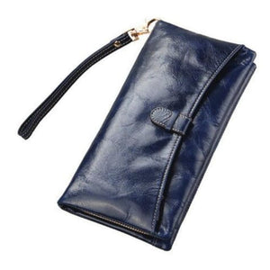 Ladies Leather Clutch Wrist Wallet/long Wallet Royalblue Premium Leather