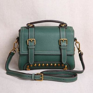 Ladies' Leather Organizer Purse/handbag Green Premium Leather