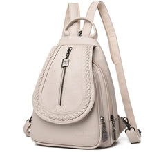 Load image into Gallery viewer, Ladies Sheepskin Leather Backpack and Cross Body Day Bag Beige Premium Leather