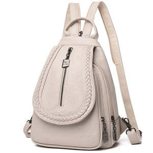 Ladies Sheepskin Leather Backpack and Cross Body Day Bag Beige Premium Leather