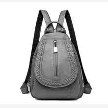 Load image into Gallery viewer, Ladies Sheepskin Leather Backpack and Cross Body Day Bag Gray Premium Leather
