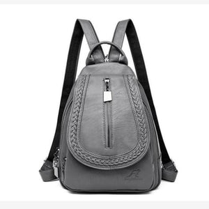 Ladies Sheepskin Leather Backpack and Cross Body Day Bag Gray Premium Leather