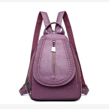Load image into Gallery viewer, Ladies Sheepskin Leather Backpack and Cross Body Day Bag Purple Premium Leather