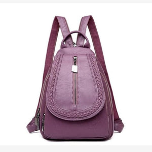Ladies Sheepskin Leather Backpack and Cross Body Day Bag Purple Premium Leather