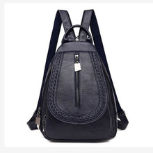 Load image into Gallery viewer, Ladies Sheepskin Leather Backpack and Cross Body Day Bag Blue Premium Leather