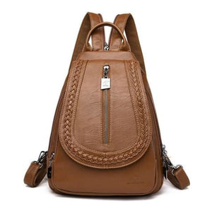 Ladies Sheepskin Leather Backpack and Cross Body Day Bag Brown Premium Leather