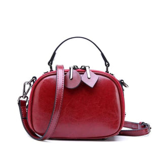 Ladies Small Round Leather Shoulder Bag/ Double Zipper Crossbody Bag Premium Leather
