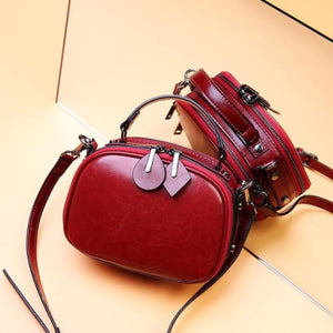 Ladies Small Round Leather Shoulder Bag/ Double Zipper Crossbody Bag Wine Red Premium Leather