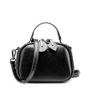 Ladies Small Round Leather Shoulder Bag/ Double Zipper Crossbody Bag Black Premium Leather