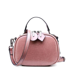 Ladies Small Round Leather Shoulder Bag/ Double Zipper Crossbody Bag Pink Premium Leather